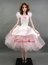 Pretty Handmade Pink Tulle Ball Gown Quinceanera Doll Dress Babidf363for