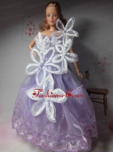 Pretty Party Clothes Lilac Beautiful Dress Tulle For Noble Quinceanera Doll Babidf284for