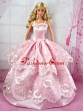 Pretty Pink Party Clothes Lace Fashion Dress For Noble Quinceanera Doll Babidf299for
