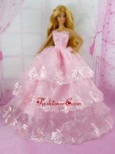 Pretty Pink Princess With Embroidery And Ruffled Layers Gown For Quinceanera Doll Babidf154for