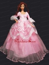 Pretty Princess Pink Dress Gown For Quinceanera Doll Babidf356for