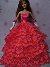 Pretty Red Gown With Ruffled Layers Dress For Quinceanera Doll Babidf152for