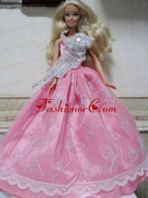 Pretty Rose Pink Princess Dress With Embroidery Made To Fit The Quinceanera Doll Babidf138for