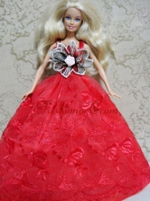 Red Embroidery Dress Handmade Gown For Quinceanera Doll Babidf140for