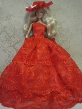 Red Handmade Pretty Dress With Embroidery Made To Fit The Quinceanera Doll Babidf134for