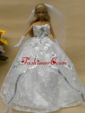 Romantic Appliques White Strapless Wedding Dress For Quinceanera Doll Babidf277for