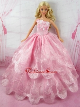 Romantic Pink Gown With Embroidery Dress For Quinceanera Doll Babidf165for