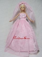 Romantic Pink Wedding Dress With Beading Made To Fit The Quinceanera Doll Babidf339for