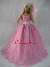 Romantic Rose Pink Strapless Lace Wedding Dress For Quinceanera Doll Babidf390for