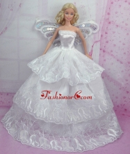 Romantic Wedding Dress With Embroidery Made To Fit The Quinceanera Doll Babidf166for