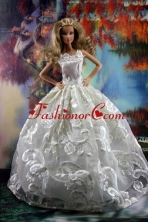 Romantic White Gown With Embroidery Dress For Quinceanera Doll Babidf181for