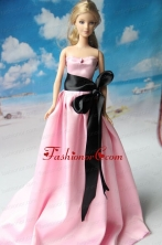 Rose Pink Party Dress With Sash For Quinceanera Doll Dress Babidf231for