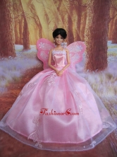 Rose Pink Straps Ball Gown Made To Fit The Quinceanera Doll Babidf251for