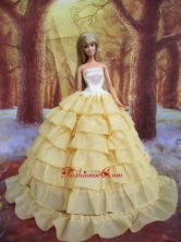 Ruffled Layers Decorate Ball Gown Light Yellow Quinceanera Doll Dress Babidf115for