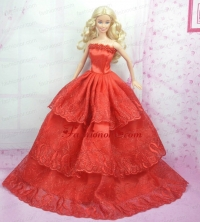 Rust Red Princess Dress With Embroidery Gown For Quinceanera Doll Babidf167for