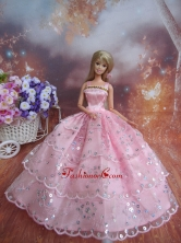 Sequin Decorate Fashion Princess Pink Dress Gown For Quinceanera Doll Babidf225for