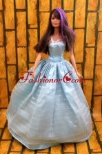Simple Baby Blue Floor-length Dress For Noble Quinceanera Babidf208for