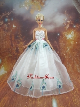 Simple Embroidery White Made To Fit The Quinceanera Doll Babidf219for