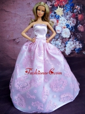 Simple Lilac Princess Embroidery Quinceanera Doll Dress Babidf120for
