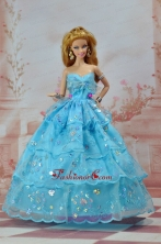 So Beautiful Baby Blue Sweetheart Ruffed Layeres Appliques Made To Fit The Quinceanera Doll Babidf238for