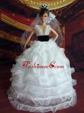 So Beautiful Princess Handmade White V-neck Wedding Dress For Quinceanera Doll Babidf068for