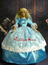 Sweet Ball Gown Baby Blue And Lace Handmade Dresses Fashion Party Clothes Gown Skirt For Quinceanera Doll Babidf263for