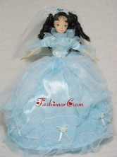 Sweet Blue Gown With Sleeves For Quinceanera Doll Babidf328for