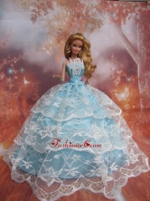 Sweet Lace Over Skirt To Light Blue Quinceanera Doll Dress Babidf224for