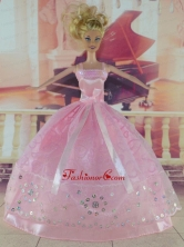 Sweet Pink Handmade Dress With Sequins For Quinceanera Doll Babidf313for