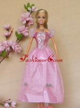 Sweet Rose Pink Short Sleeves Handmade Party Clothes Fashion Dress For Noble Quinceanera Babidf399for