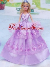 Taffeta And Embroidery For Lilac Quinceanera Doll Dress Babidf048for
