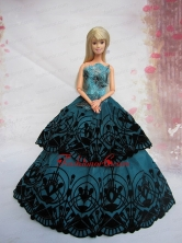 Teal A-line Dress Noble Quinceanera With Appliques And Floor-length Babidf217for