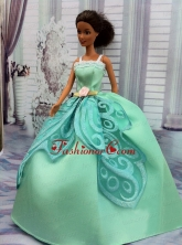 The Most Amazing Apple Green Appliques Dress With Hand Made Flower Made To Fit The Quinceanera Doll Babidf266for