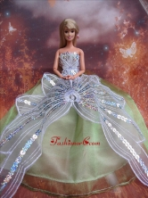 The Most Amazing Green Dress With Sequins Made To Fit The Quinceanera Doll Babidf218for