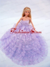 The Most Amazing Lilac Dress With Lace And Ruffles Made To Fit The Quinceanera Doll Babidf054for