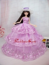 The Most Amazing Pink Dress With Embroidery Made To Fit The Quinceanera Doll Babidf060for