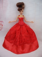 The Most Amazing Red Dress With Sash And Lace Wedding Dress For Quinceanera Doll Babidf078for