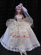 The Most Amazing Straps White Dress With Sequins Made To Fit The Quinceanera Doll Babidf249for