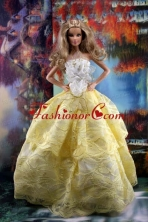 The Most Amazing Yellow Dress With Hand Made Flowers To Fit The Quinceanera Doll Babidf187for