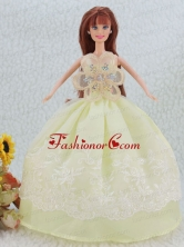 The Most Beautiful Beading And Embroidery Yellow Green Ball Gown Party Clothes Quinceanera Doll Dress Babidf083for