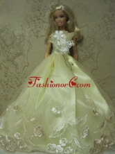Yellow Green Handmade Dress With Embroidery Gown For Quinceanera Doll Babidf137for
