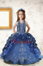2015 Affordable Appliques and Pick Ups Little Girl Dress in Navy Blue XFLGA62FOR