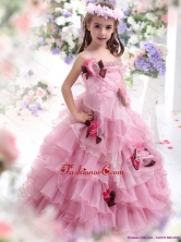 2015 Little Girl Pageant Dress with Hand Made Flowers and Ruffles WMDLG012FOR