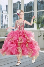 2015 Gorgeous Beading and Ruffles Flower Girl Dress in Pink XFLG5944FOR