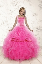 2015 Most Popular Beading and Ruffles Little Girl Pageant Dress in Pink XFLGA46FOR