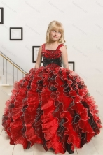 2015 New Arrival Appliques and Ruffles Multi-color Flower Girl Dress XFLGA32FOR