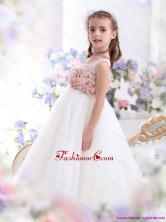 2015 Pretty Scoop Little Girl Pageant Dress with Hand Made Flowers WMDLG026FOR