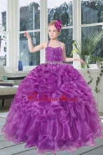 2015 Romantic Beading and Ruffles Organza Little Girl Pageant Dress with Halter XFLG5805FOR