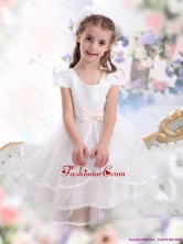 2015 Scoop White Little Girl Pageant Dresses with Bowknot and Ruffles WMDLG015FOR