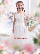 2015 White Spaghetti Straps Little Girl Pageant Dress with Flowers and Ruffles WMDLG006FOR